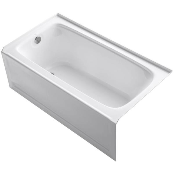 Kohler Bancroft 60 In X 32 In Alcove Bathtub With Integral Apron Integral Flange And Left Hand Drain In White K 1150 La 0 The Home Depot