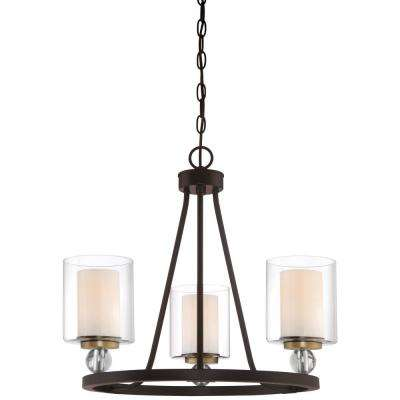 Studio 5 Collection 3-Light Painted Bronze with Natural Brushed Brass Chandelier with Clear Glass Shades