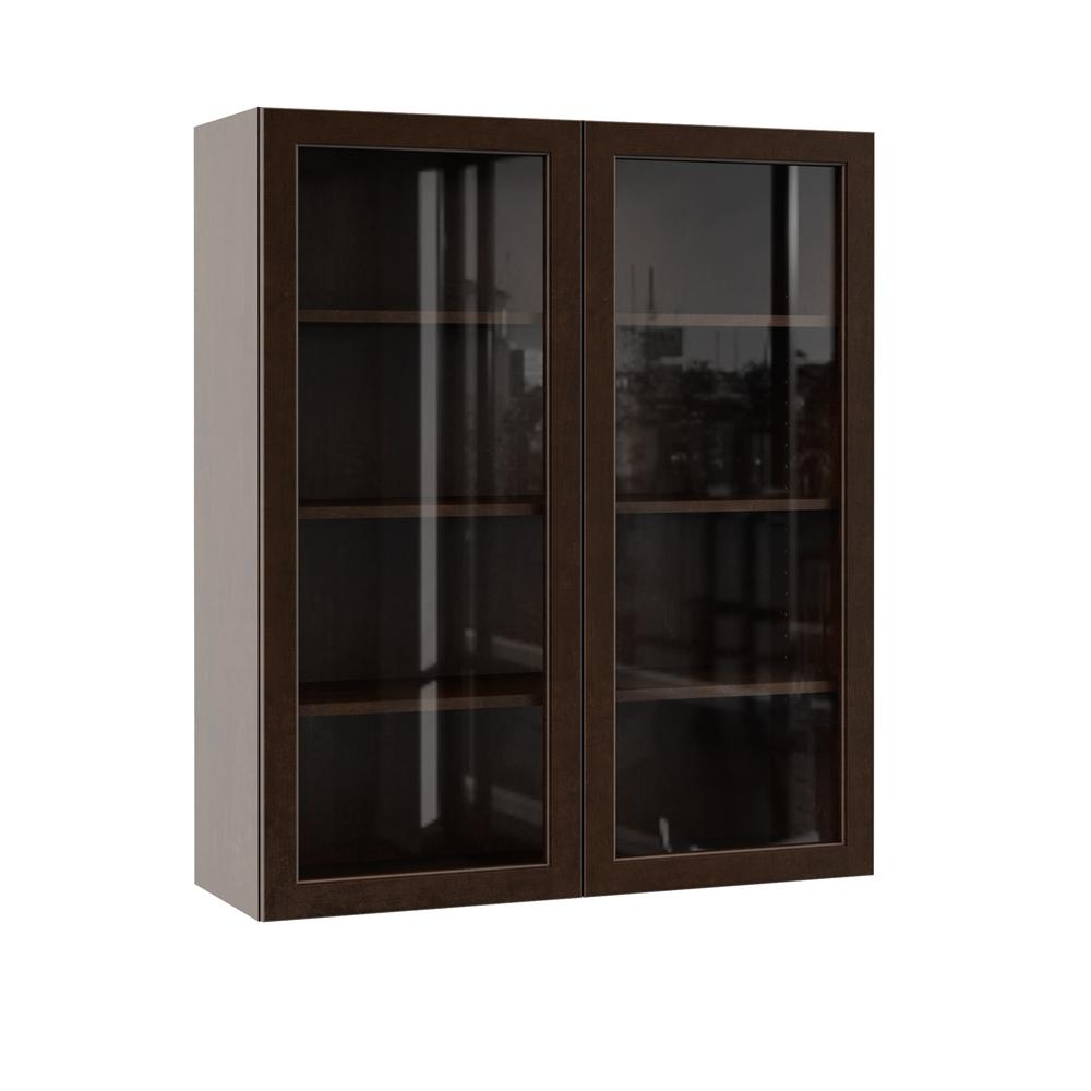 Hampton Bay Designer Series Gretna Assembled 36x42x12 in. Wall Kitchen  Cabinet with Glass Doors in Espresso