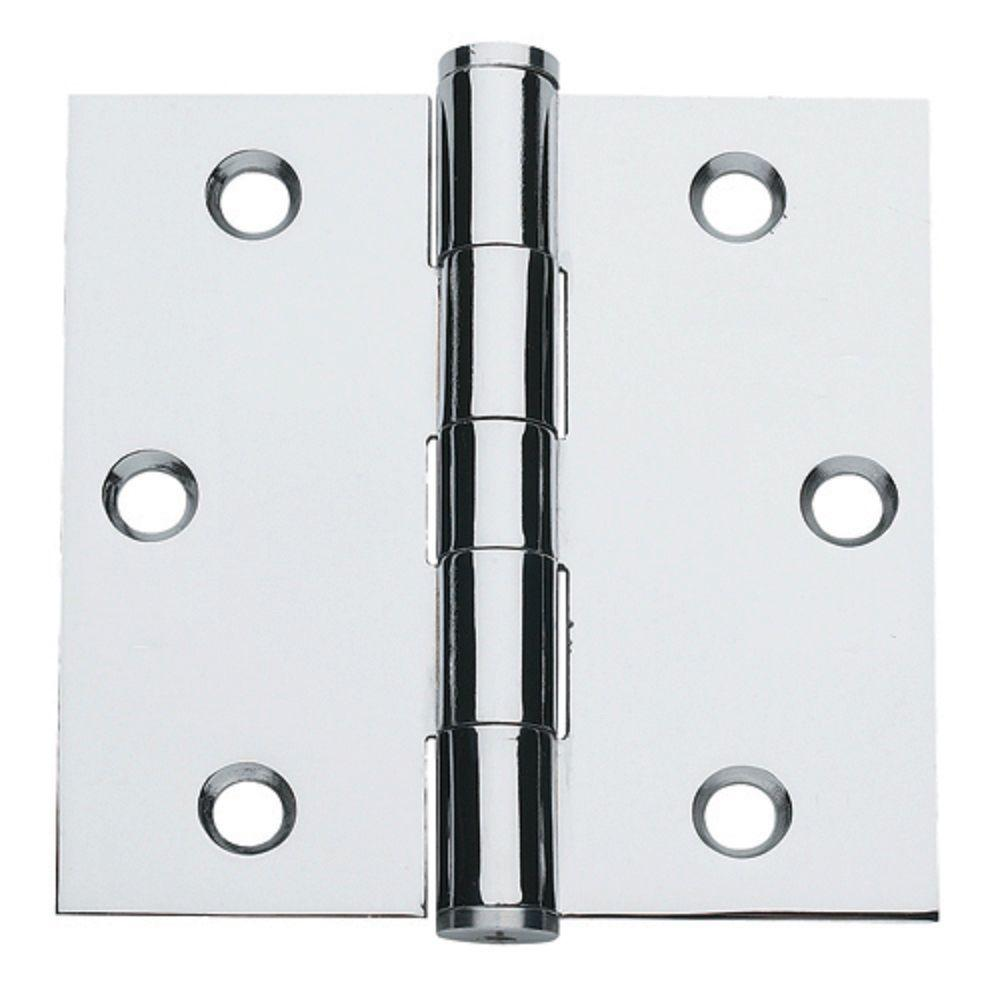 3.5 in. x 3.5 in. Bright Chrome Plain Bearing Steel Hinge