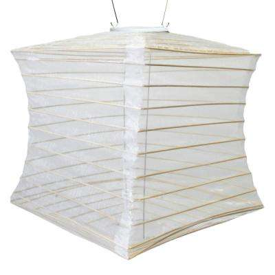 Soji Silk Effect 10 in. x 12 in. Pearl Square Integrated LED Hanging Outdoor Weather Resistant UV Solar Lantern