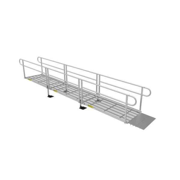 PATHWAY 3G 18 ft. Wheelchair Ramp Kit with Expanded Metal Surface and Two-line Handrails