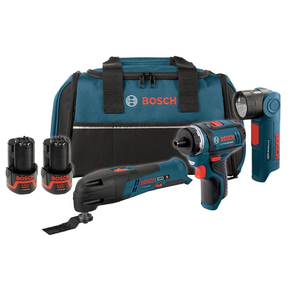 Bosch 12-Volt Lithium-Ion Cordless Max Power Tool Combo Kit (3-Tool)