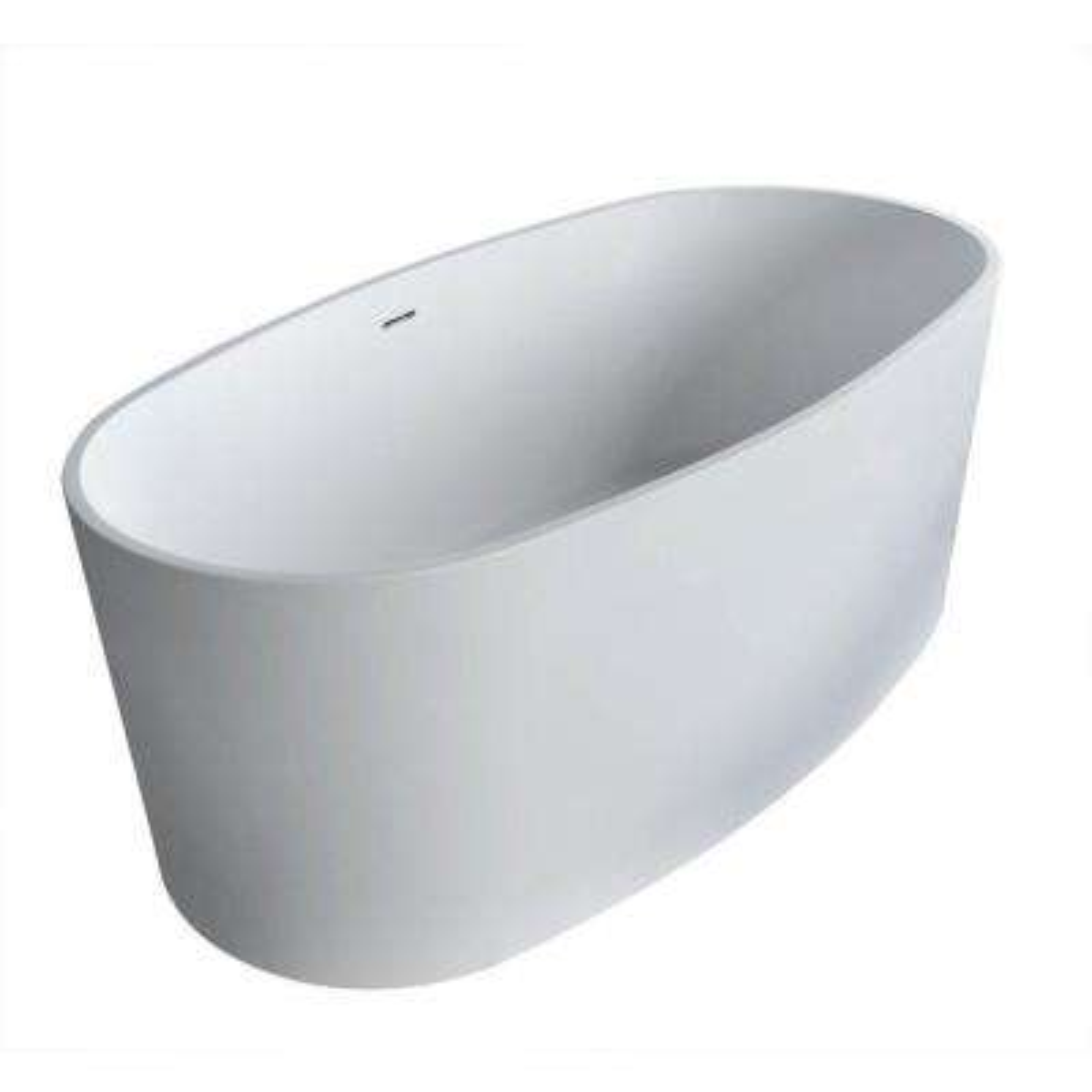 Spa Stone 5.3 ft. Artificial Stone Center Drain Oval Bathtub in White