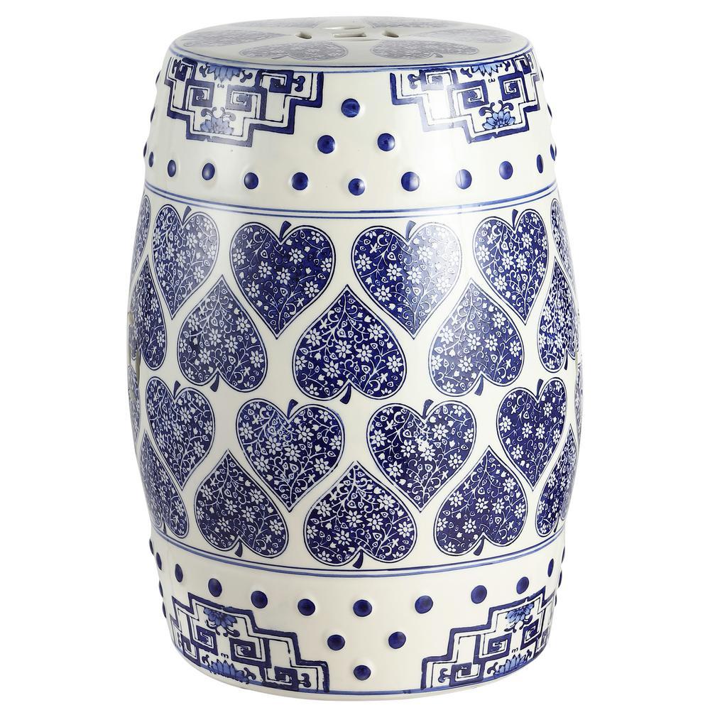 Happy Hearts 17.8 in. Blue/White Chinoiserie Ceramic Garden Stool