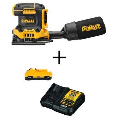 20V MAX Lithium-Ion Cordless Brushless 1/4 Sheet Sander (Tool-Only) with Free 20-Volt MAX 3.0Ah Battery & Charger