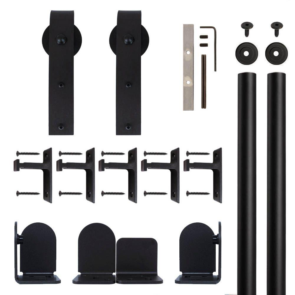 Quiet Glide Hook Hardware Black Rolling Door Hardware Kit