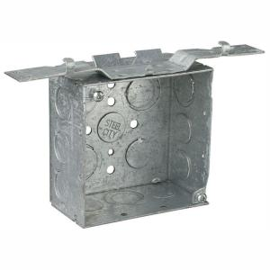 1-Gang 4 in. 2-1/8 in. Deep 30.3 cu. in. New Work Metal Box - Eccentric Knockouts and SV Bracket (Case of 25)