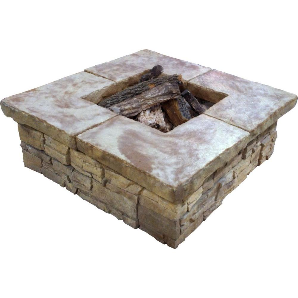 Stonebilt concepts telluride 44 in square stacked stone for Square fire ring