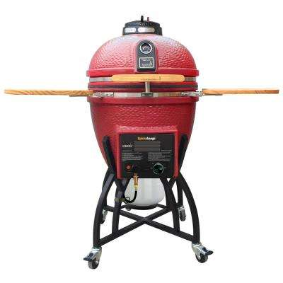 Kamado Char-Gas Dual Fuel Charcoal/Gas Grill in Chili Red with Grill Cover