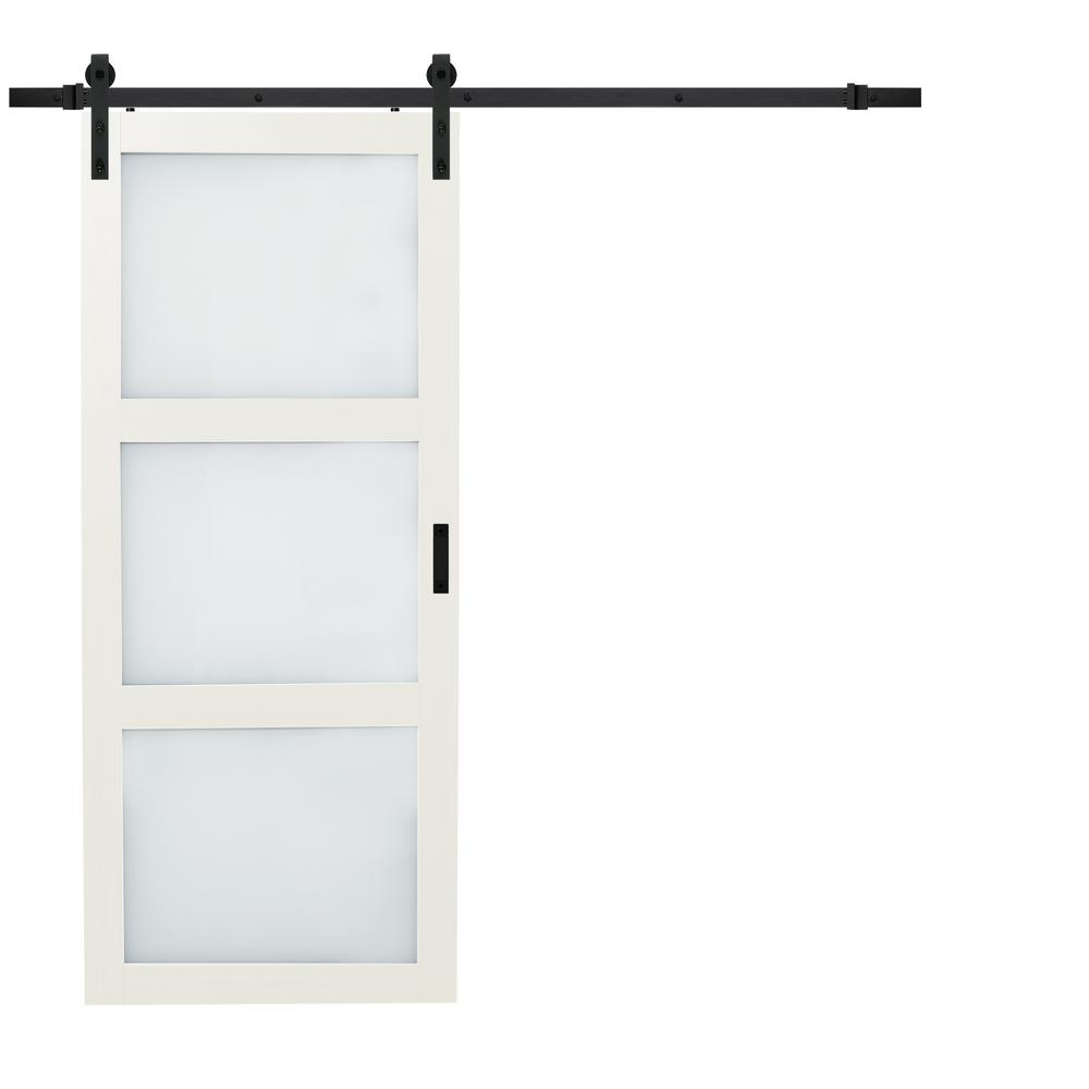 Bright White Solid Core Rustic 3 Lite Frost Barn Door With Composite Sliding Hardware Kit