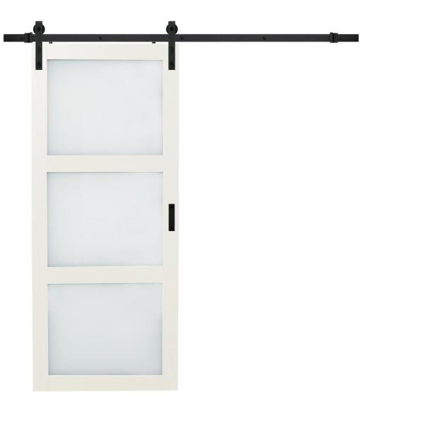 36 in. x 84 in. Bright White Solid Core Frosted 3 Lite Barn Door with Rustic Matte Black Hardware Kit