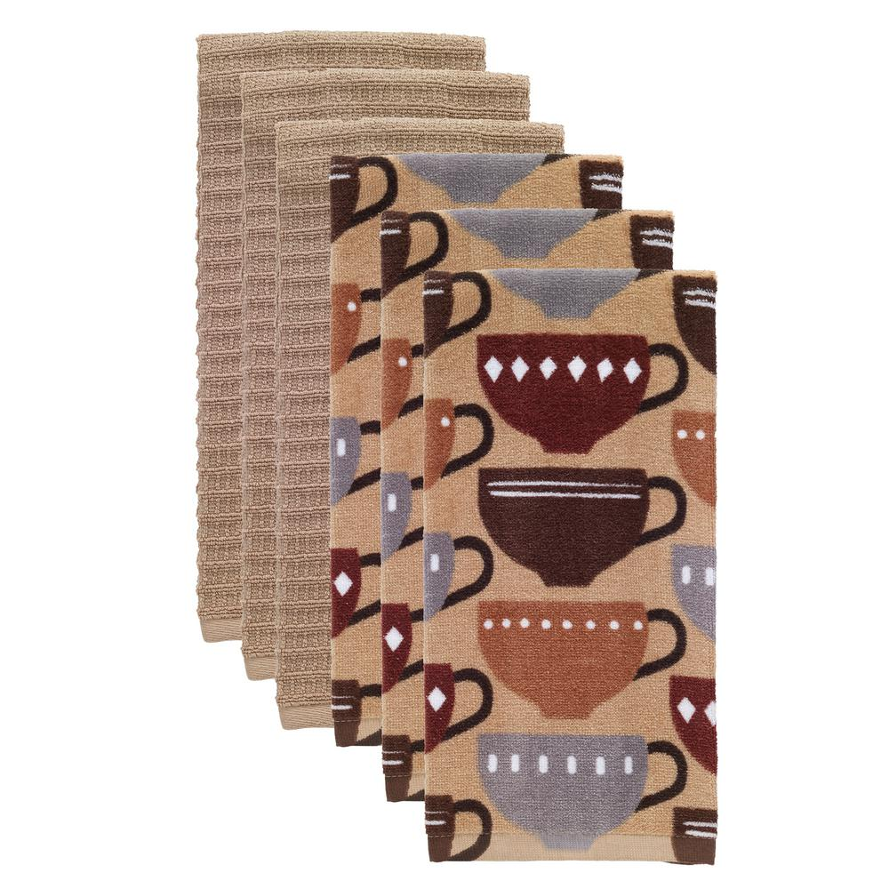 RITZ T-fal Coffee Multicolor Cotton Fiber Reactive Print and Solid Kitchen  Dish Towel (Set of 6)