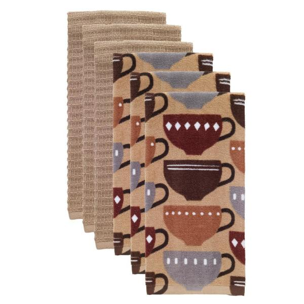 T-fal Coffee Multicolor Cotton Fiber Reactive Print and Solid Kitchen Dish Towel (Set of 6)