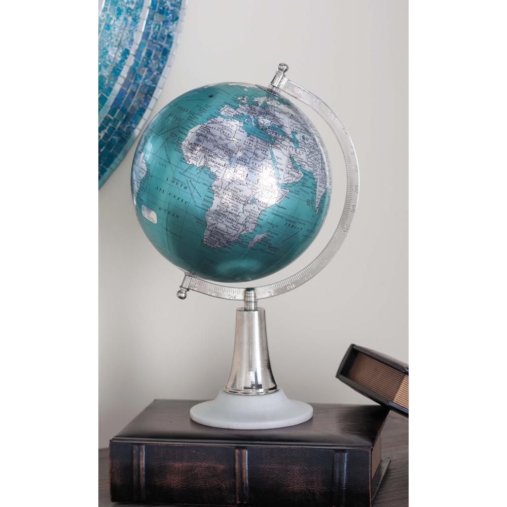 15 in. x 8 in. Modern Decorative Globe in Cyan and Silver