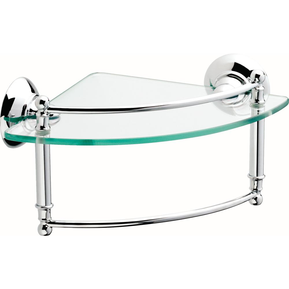 8 in. Glass Corner Shelf with Hand Towel Bar in Polished