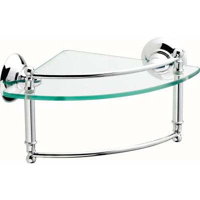 8 in. Glass Corner Shelf with Hand Towel Bar in Polished Chrome