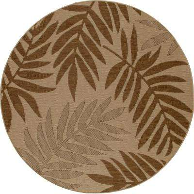 Plymouth Resting Beige 7 ft. x 7 ft. Round Indoor/Outdoor Area Rug