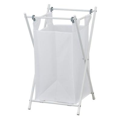 Wayar White Chrome Laundry Sorter with Single Removable Bags