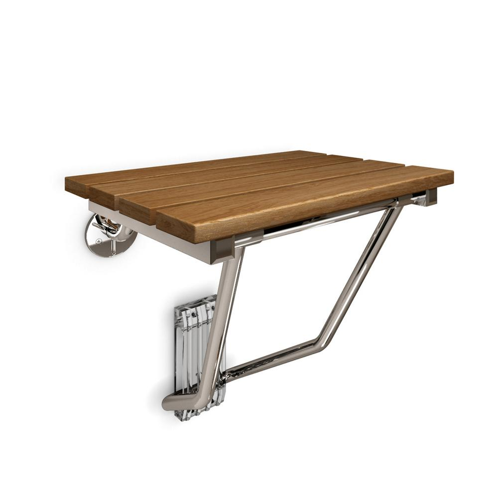 Natural Teak Wood Folding Seat In Chrome
