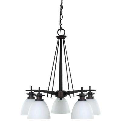 New Yorker 5-Light Oil Rubbed Bronze Chandelier with Flat Opal Glass Shade