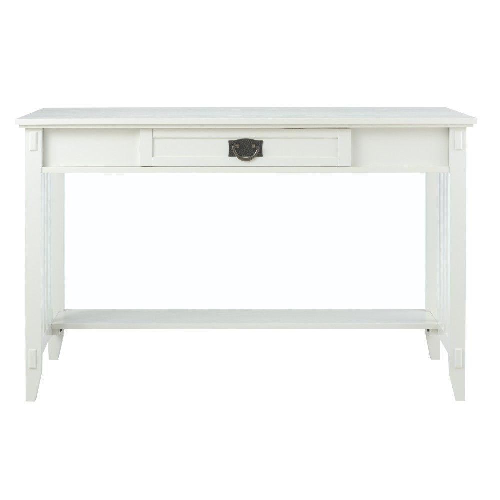 Artisan white Desk with Storage