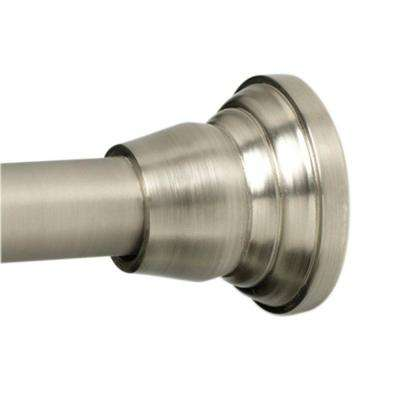 Decorative Finial 46 in. - 72 in. Adjustable Tension No-Tools Shower Rod in Brushed Nickel