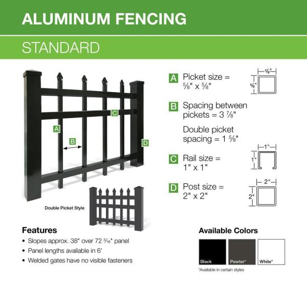 Barrette Outdoor Living Cascade Standard Duty 6 Ft H X 6 Ft W Black Aluminum Pre Assembled Fence Panel 73002352 The Home Depot