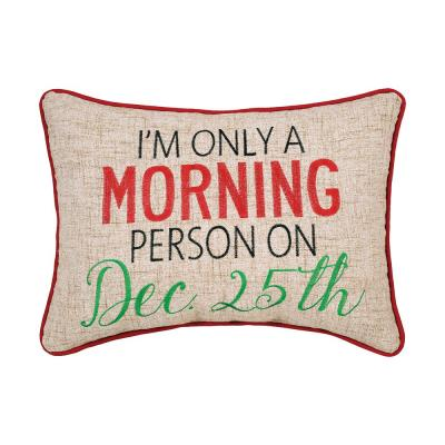 Morning Person Red Pillow 12 in. x 16 in.