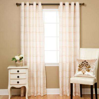 84 in. L Ivory Faux Silk Chenille Check Curtain Panel (2-Pack)