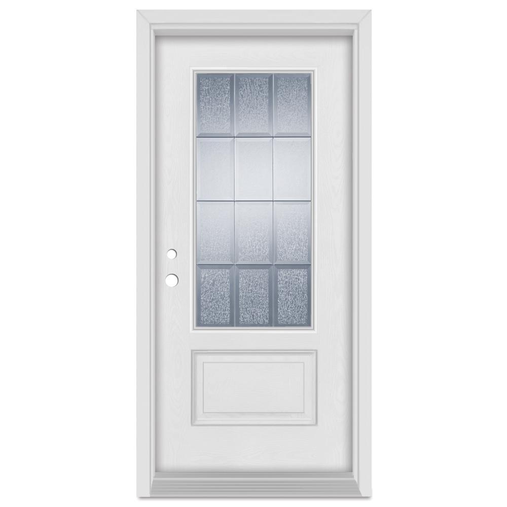 37.375 in. x 83 in. Geometric Right-Hand Zinc Finished Fiberglass Mahogany Woodgrain Prehung Front Door Brickmould