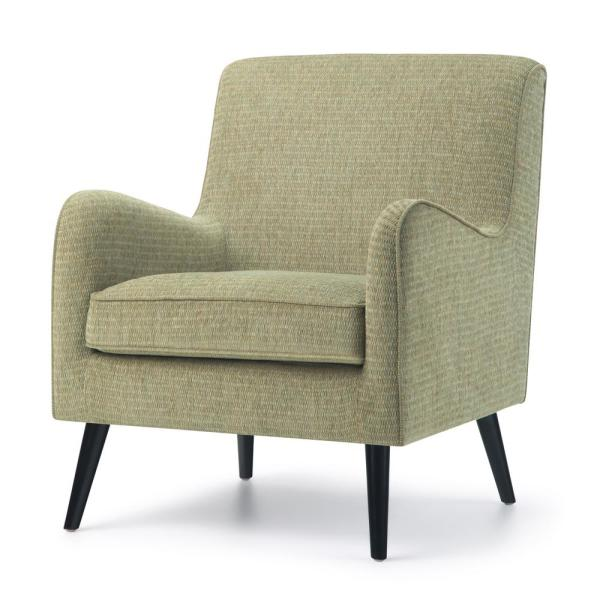 Simpli Home Dysart 28 in. Wide Mid Century Modern Arm Chair in Pear Green Fabric