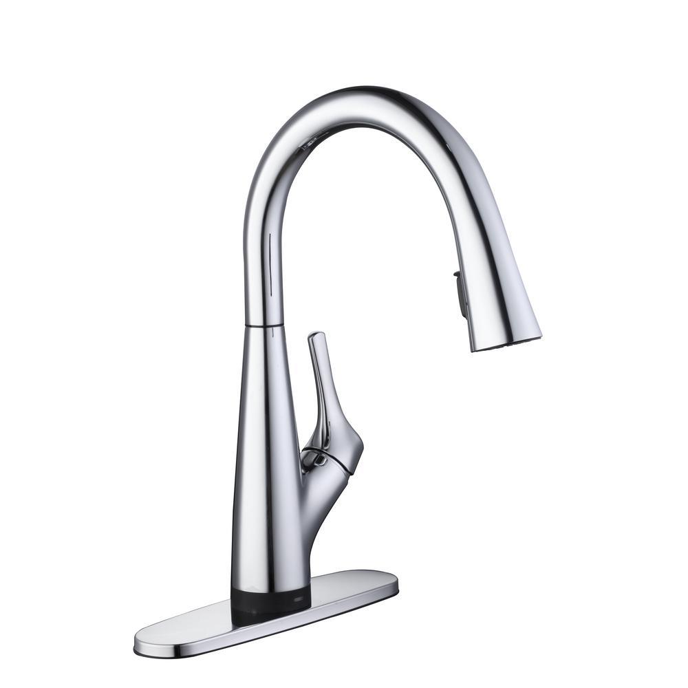 Glacier Bay Eagleton Pull Down Kitchen Faucet With Water Filtration In Chrome