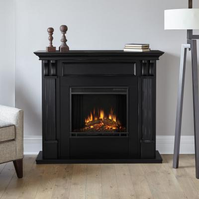 Enjoyable Real Flame Silverton 48 In Electric Fireplace In Dark Interior Design Ideas Grebswwsoteloinfo