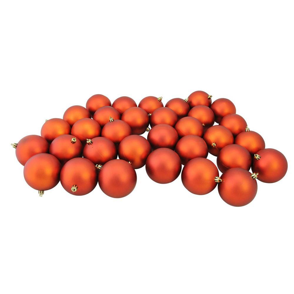 Matte Burnt Orange Shatterproof Christmas Ball Ornaments (32-Count)