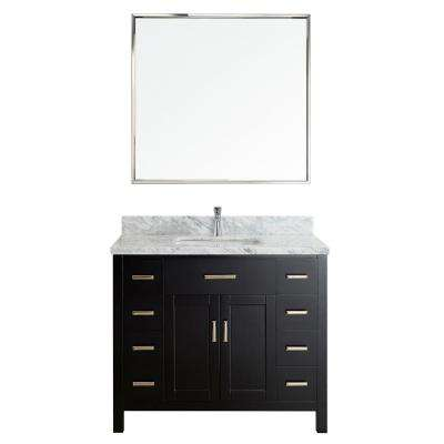 Kalize II 42 in. W x 22 in. D Vanity in Espresso with Marble Vanity Top in Gray with White Basin and Mirror