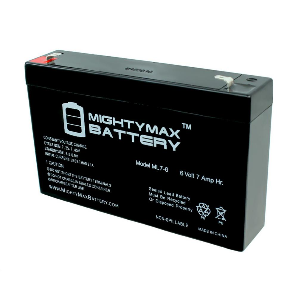 MIGHTY MAX BATTERY 6-Volt 7 Ah Sealed Lead Acid (SLA) Rechargeable Battery