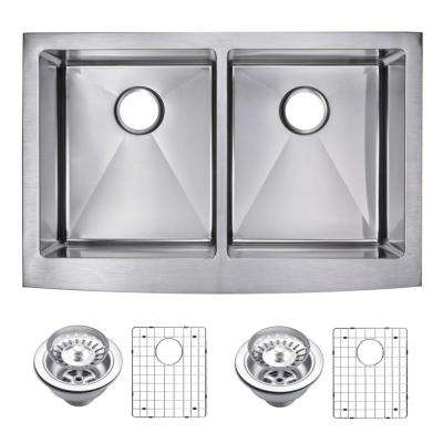 Farmhouse Apron Front Stainless Steel 33 in. Double Bowl Kitchen Sink with Strainer and Grid in Satin
