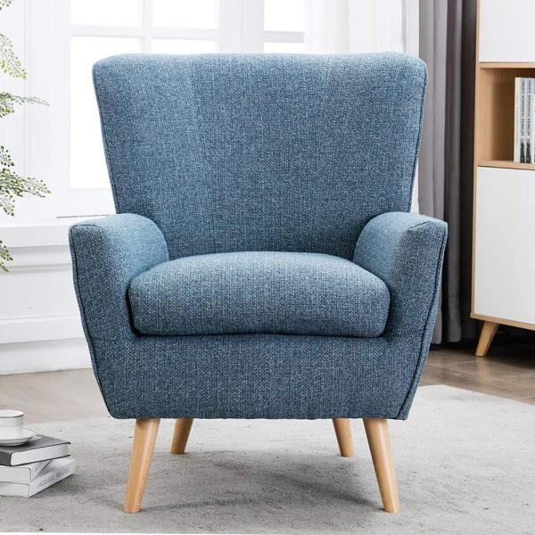 Boyel Living Blue Arm Chairs Mid Century Modern Fabric Accent Chair For Living Room And Bedroom Ca0501b001 C179 The Home Depot