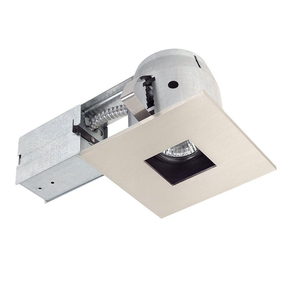 4 in. Square Recessed Brushed Nickel Lighting Kit