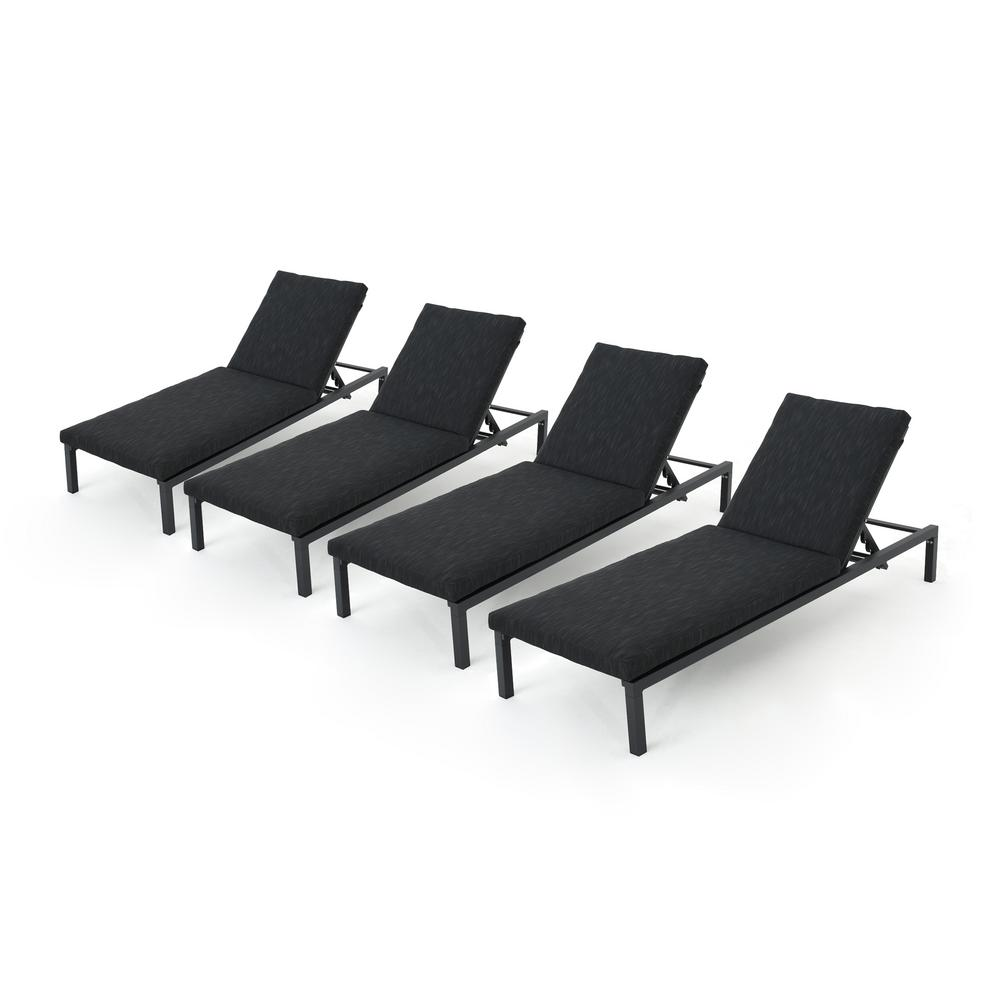 Noble House Jameson Black 4-Piece Metal Outdoor Chaise Lounge with Dark Grey Cushions
