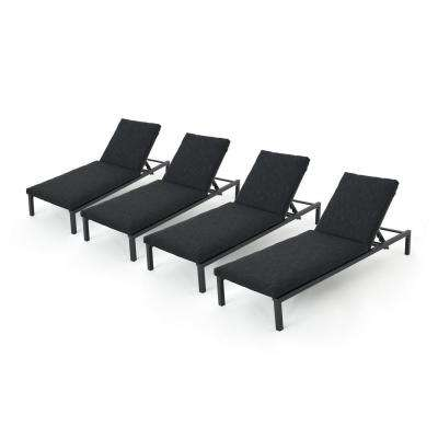 Jameson Black 4-Piece Metal Outdoor Chaise Lounge with Dark Grey Cushions