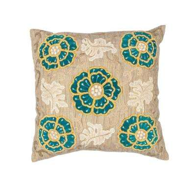 Flower Made Taupe/Teal Decorative Pillow