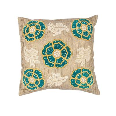 Kas Rugs Flower Made Taupe/Teal Decorative Pillow