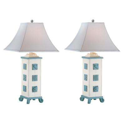 30 in. Cottage White Indoor Table Lamp Set