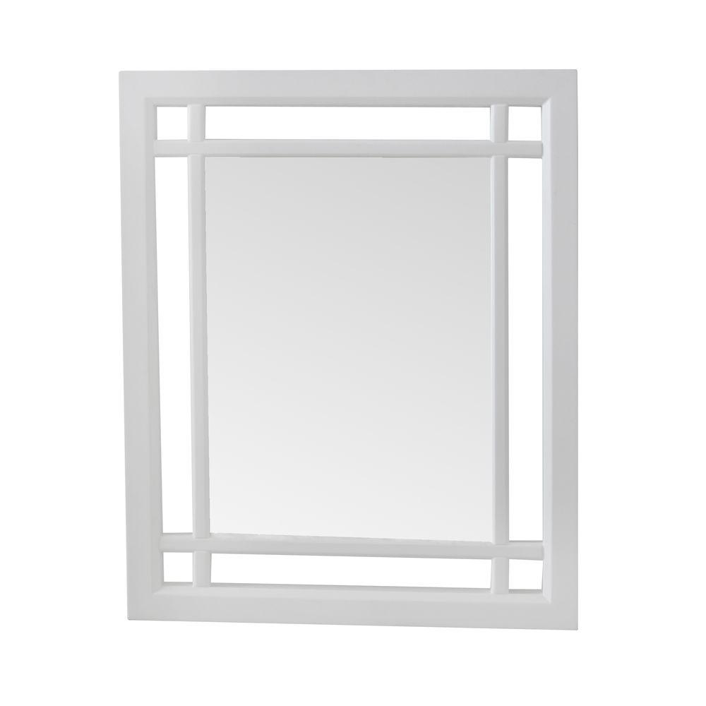 Elegant Home Fashions Albion 24 in. x 20 in. Framed Wall Mirror in White