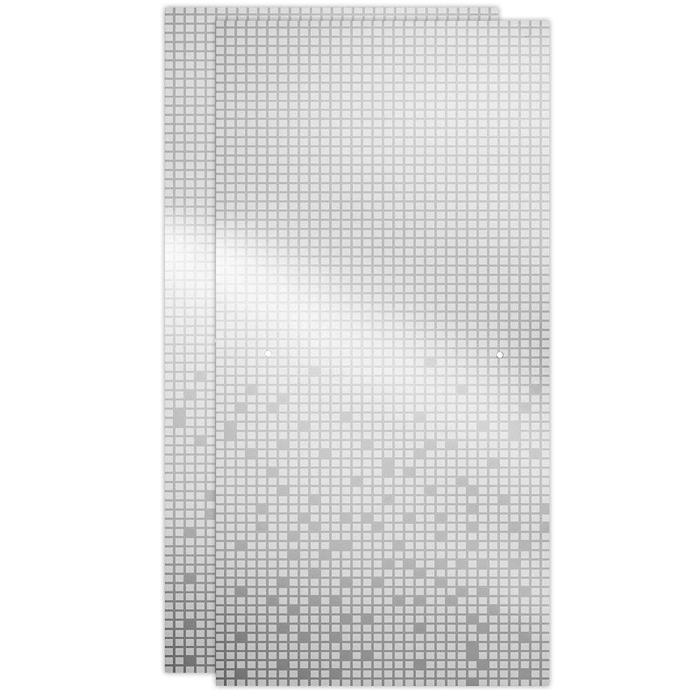 29-1/32 in. x 67-3/4 in. x 1/4 in. Frameless Sliding Shower Door Glass Panels in Mozaic (1-Pair for 50-60 in. Doors)