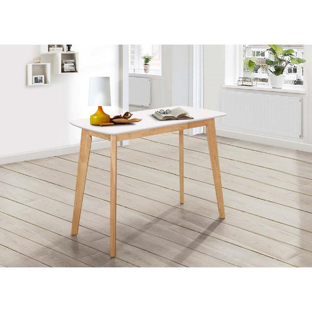 Walker Edison Furniture Company Retro Modern Wood White And Natural Writing  Desk
