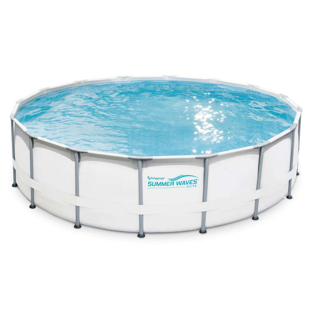 Summer Waves Elite 16 ft. Deep Round 48 in. Above Ground Elite Metal Frame  Pool with SFX1500 Filter Cover and SureStep Ladder