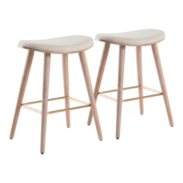 Saddle 25 in. White Washed Counter Stool in Cream Fabric with Gold Metal (Set of 2)
